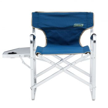 Coleman Chair Flat Fold Directors Plus Blue Padded Side Table Camping Outdoors
