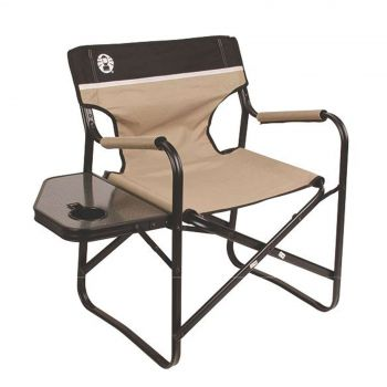 Coleman Chair Flat Fold Directors Steel Deck Easy Folding Drink Holder Camping