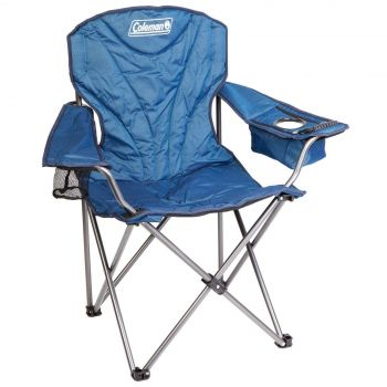 Coleman Chair Quad King Size Cooler Arm Blue Deluxe Model Carry Bag Camping