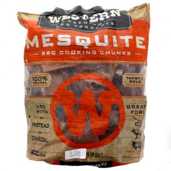 Western BBQ Mesquite Wood Chunks 3.1kg Barbecue Smoking Cooking Made In USA