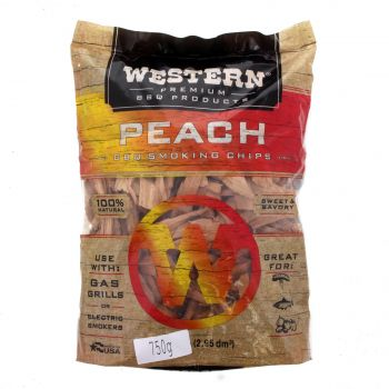 Western BBQ Peach Wood Chips 750g Barbecue Smoking Cooking Made In USA