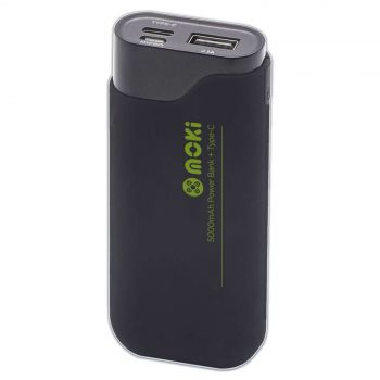Moki Powerbank 5000Mah Type C w/ USB Cable - iPhone Samsung Android Compatible