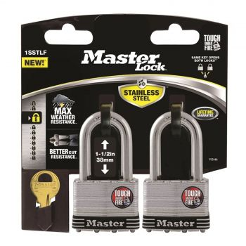 Master Lock Stainless Steel Laminated 44mm Body Shackle 38mm 2 Pack