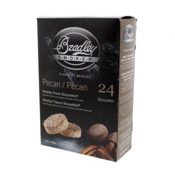 Bradley Pecan Bisquettes 24Pk Smoker Chips Cooking Smoking Pecan Flavour