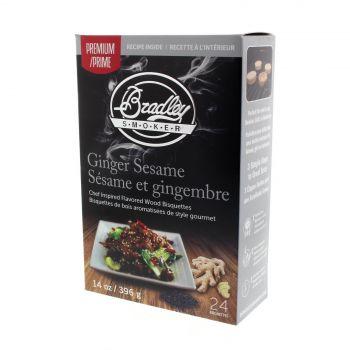 Bradley Premium Bisquettes Ginger Sesame 24Pk Smoker Chips Cooking Smoking