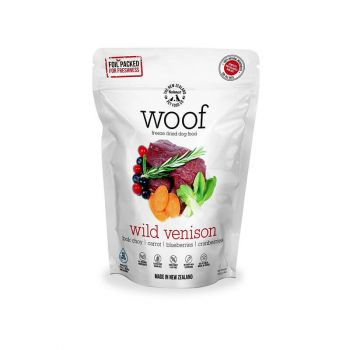 Woof Freeze Dried Dog Food; Adult Dog Food; All Breed Dog Food; Dry Dog Food; Made in New Zealand; Wild Venison