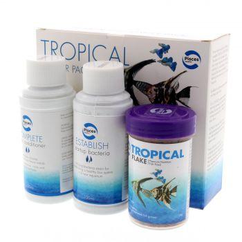 Tropical Starter Pack Pisces Aquarium Fish Tank Kit Conditioner Food Essentials