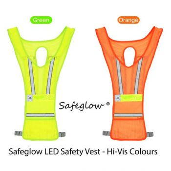 Led Safety Vest - L/Green Safeglow Standard