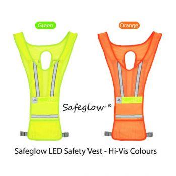 Led Safety Vest - Orange Safeglow Standard