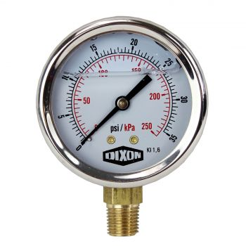 "Water and Air Pressure Gauge New 1/4"" Brass BSPT Thread 0 - 35 psi / 250kpa"