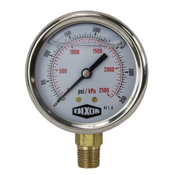 "Water and Air Pressure Gauge New 1/4"" Brass BSPT Thread 0 - 350psi/2500kpa"