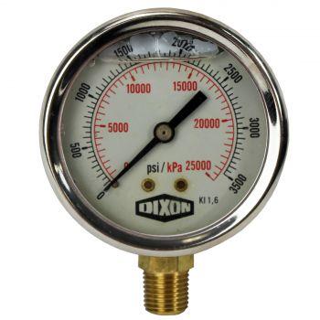 "Water and Air Pressure Gauge New 1/4"" Brass BSPT Thread 0 - 3500psi/25000kpa"
