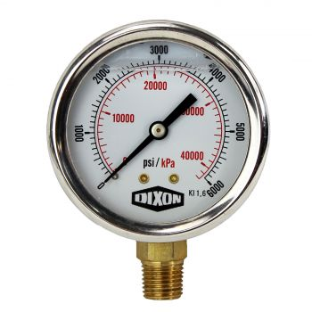"Water and Air Pressure Gauge New 1/4"" Brass BSPT Thread 0 - 6000psi/42000kpa"