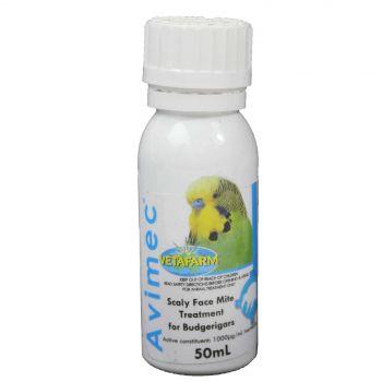 Vetafarm Avimec Scaly Face Mite Treatment for Budgerigars Bird Aviary 50ml